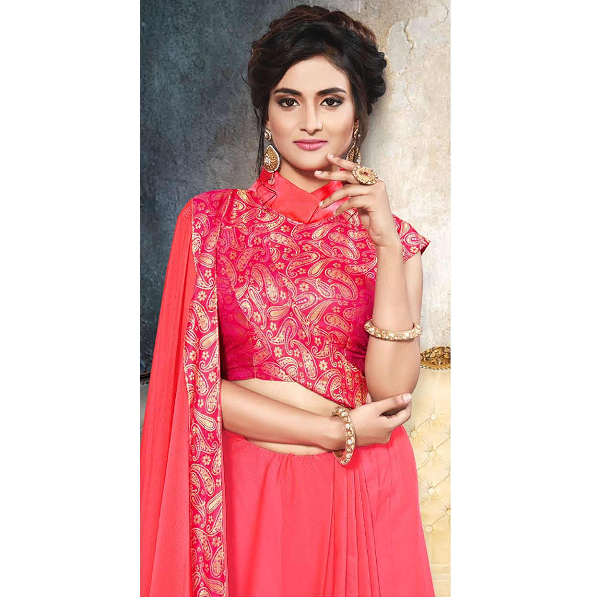 Sophisticated Dark Pink Colored Partywear Printed Heavy Georgette Saree With Lace Border