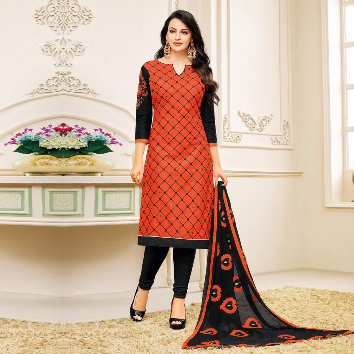 Orange Embroidered Partywear Chanderi Salwar Suit