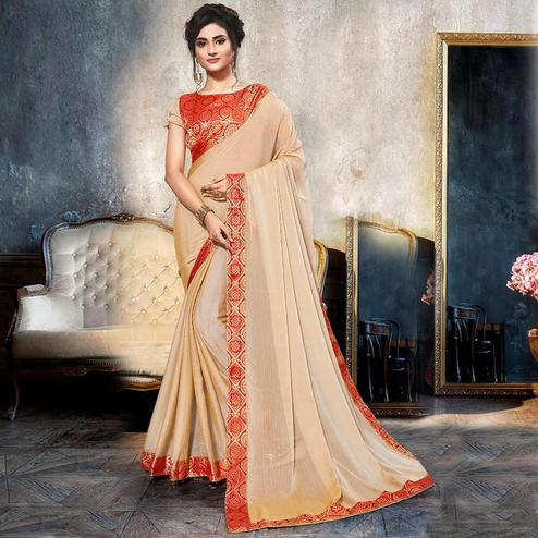 Trendy Beige Colored Partywear Printed Heavy Georgette Saree With Lace Border