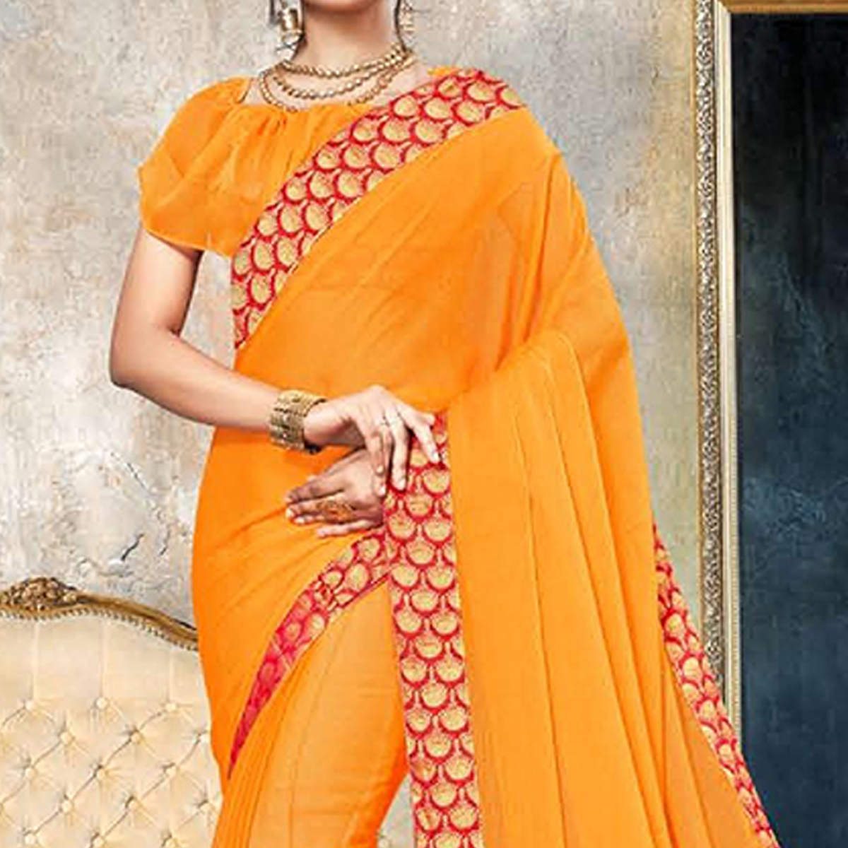 Exceptional Orange Colored Partywear Printed Heavy Georgette Saree With Lace Border