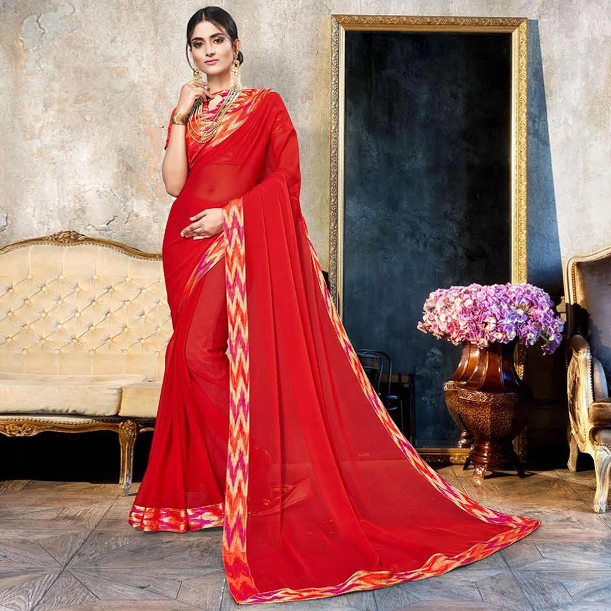 Unique Red Colored Partywear Printed Heavy Georgette Saree With Lace Border