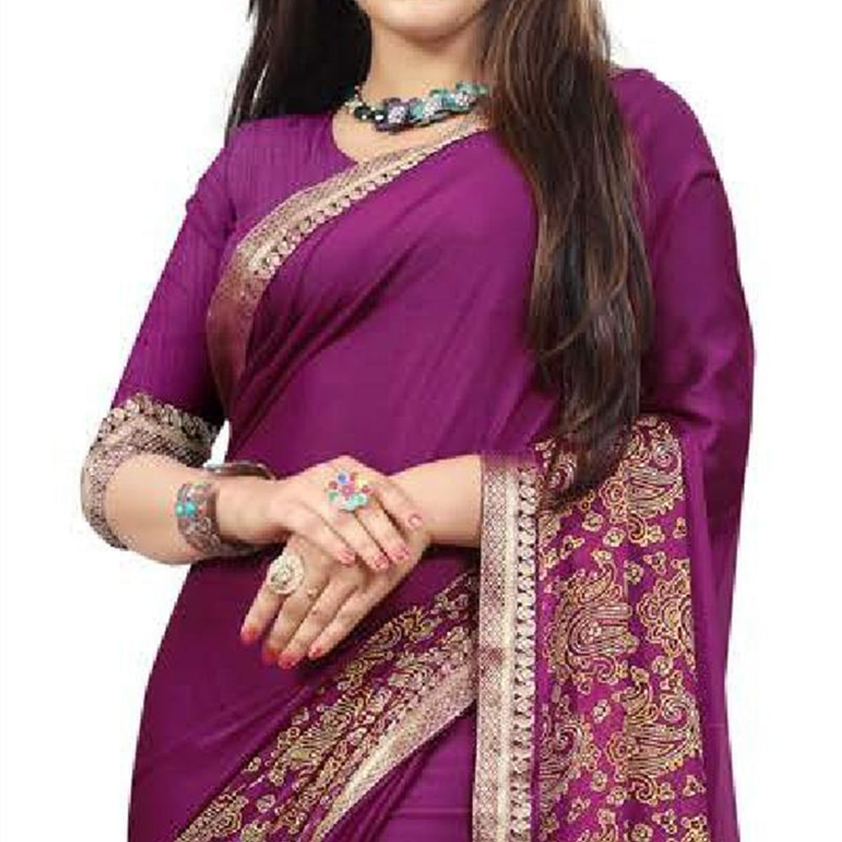 Prominent Violet Colored Partywear Printed Heavy Georgette Saree With Lace Border