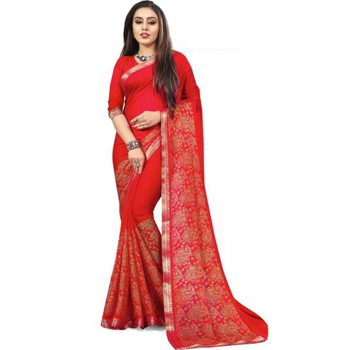 Pleasant Red Colored Partywear Printed Heavy Georgette Saree With Lace Border