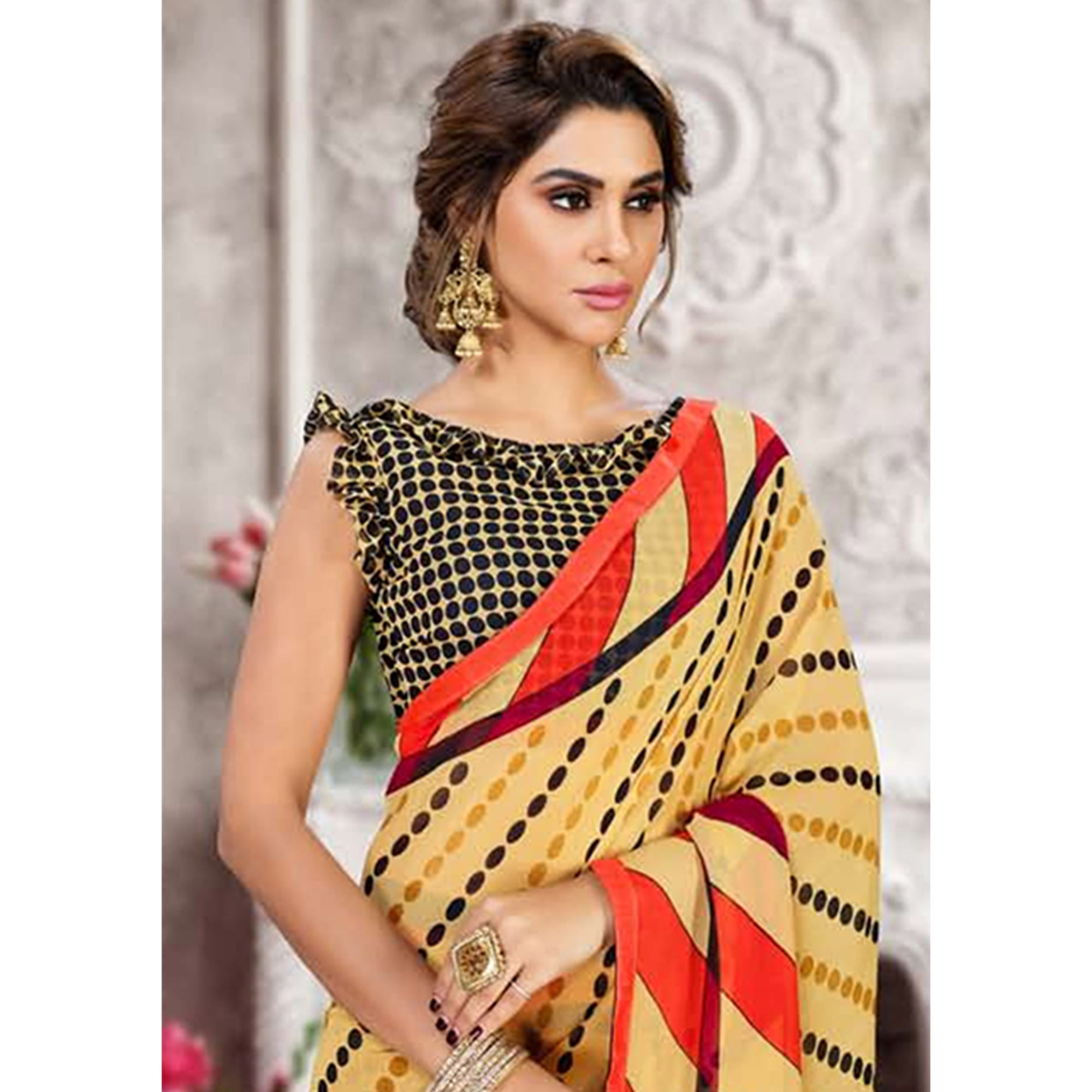 Ideal Beige Colored Casual Printed Heavy Georgette Saree With Lace Border