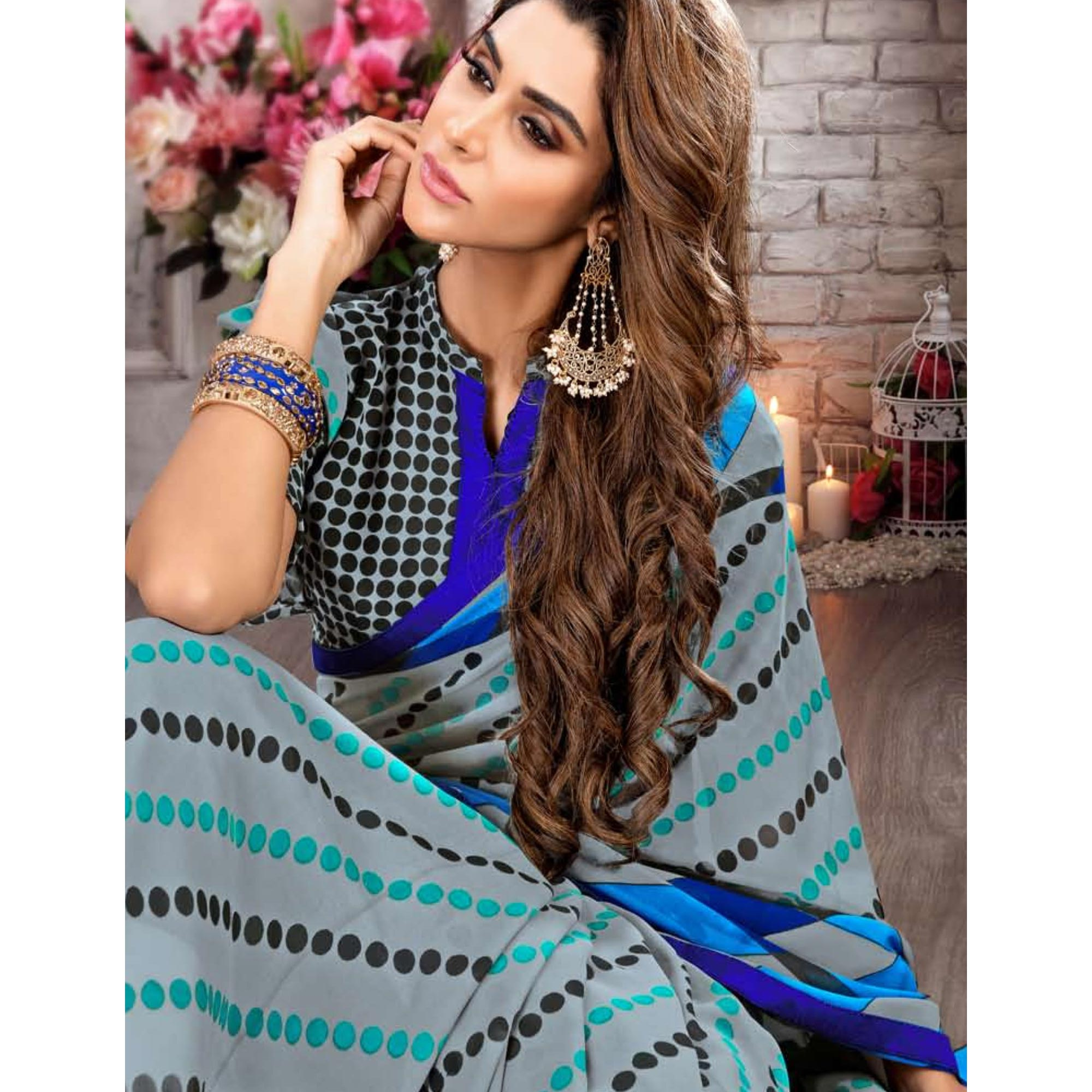 Lovely Light Gray Colored Casual Printed Heavy Georgette Saree With Lace Border
