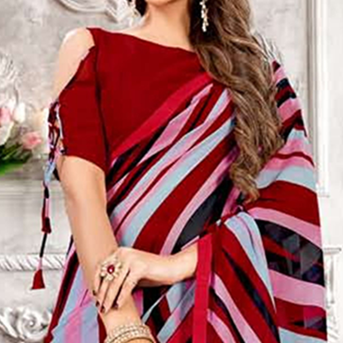 Majesty Multi Colored Casual Printed Heavy Georgette Saree With Lace Border