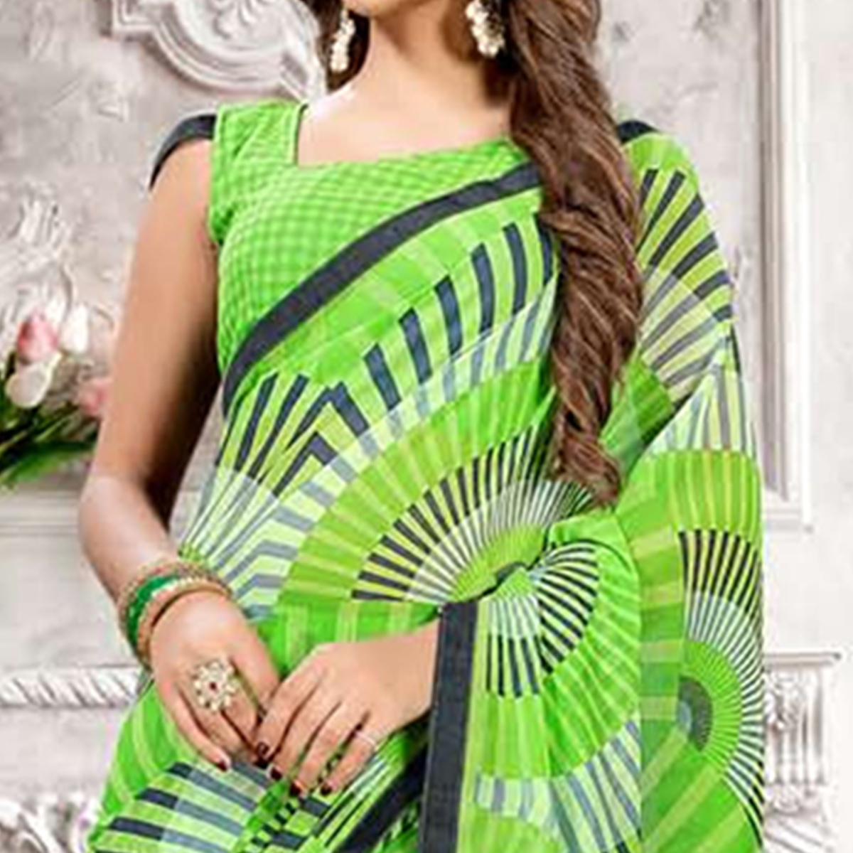 Marvellous Green Colored Casual Printed Heavy Georgette Saree With Lace Border