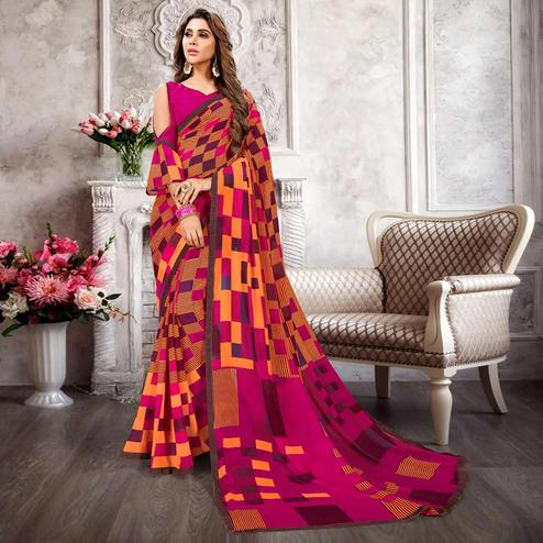 Mesmerising Orange-Multi Colored Casual Printed Heavy Georgette Saree With Lace Border
