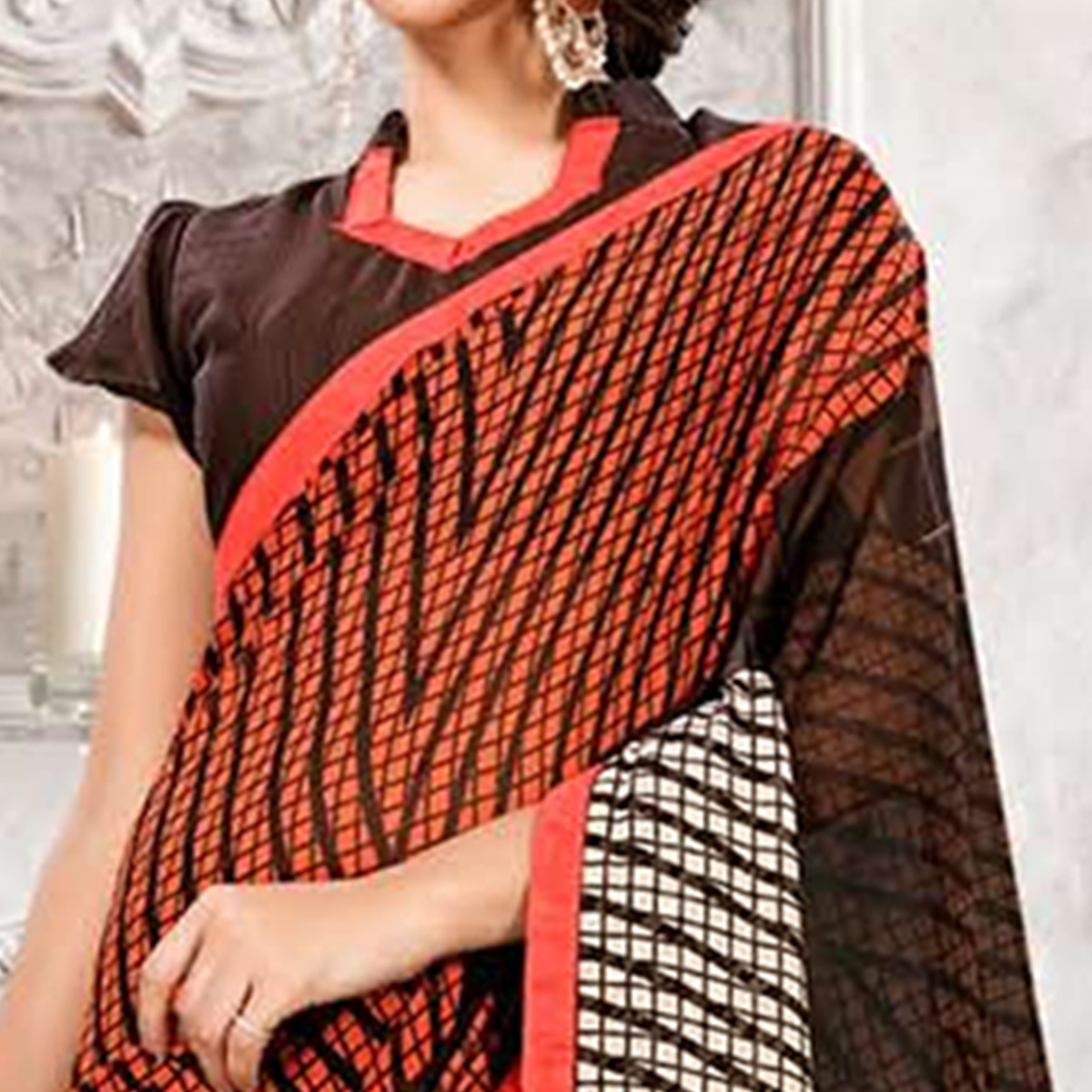 Ravishing Brown Colored Casual Printed Heavy Georgette Saree With Lace Border