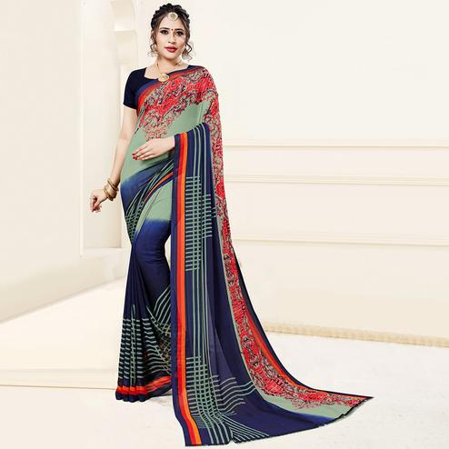Eye-Catching Green-Blue Colored Casual Printed Georgette Saree
