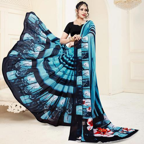 Gorgeous Blue Colored Casual Printed Georgette Saree