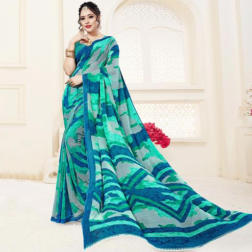 Ideal Green Colored Casual Printed Georgette Saree