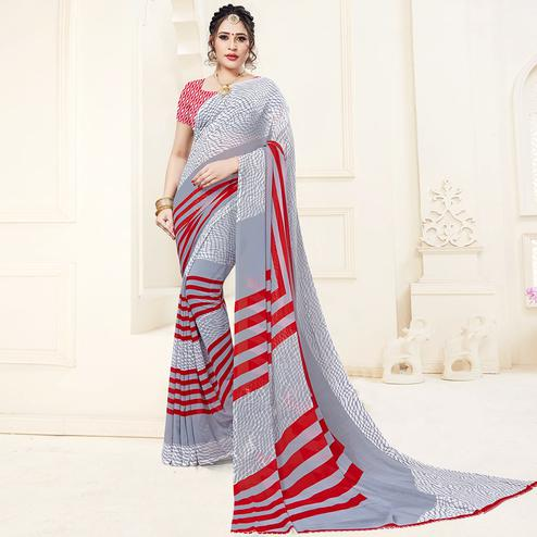 Magnetic Gray Colored Casual Printed Georgette Saree