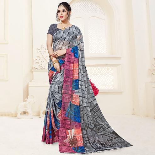 Marvellous Gray Colored Casual Printed Georgette Saree