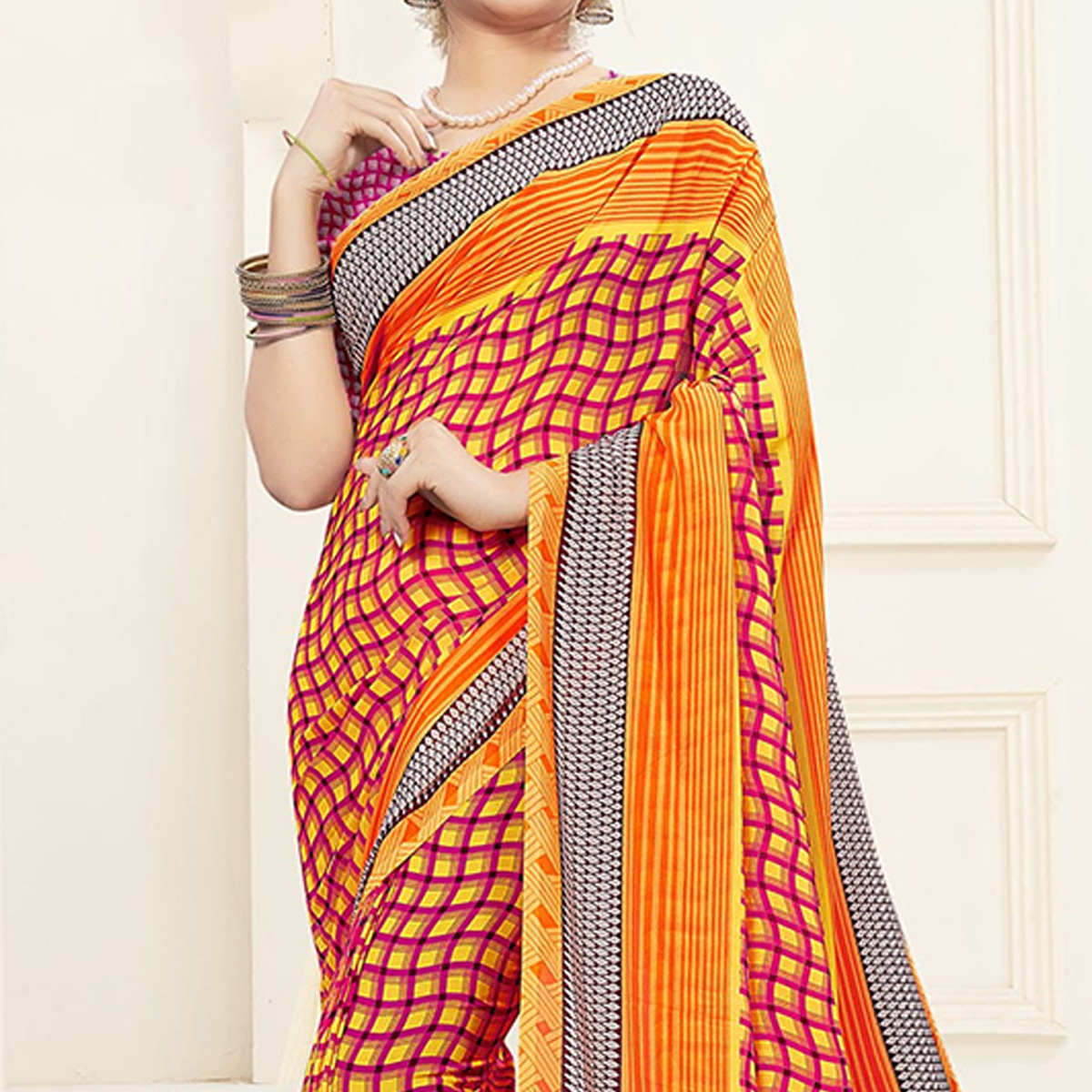 Mesmerising Yellow Colored Casual Printed Georgette Saree