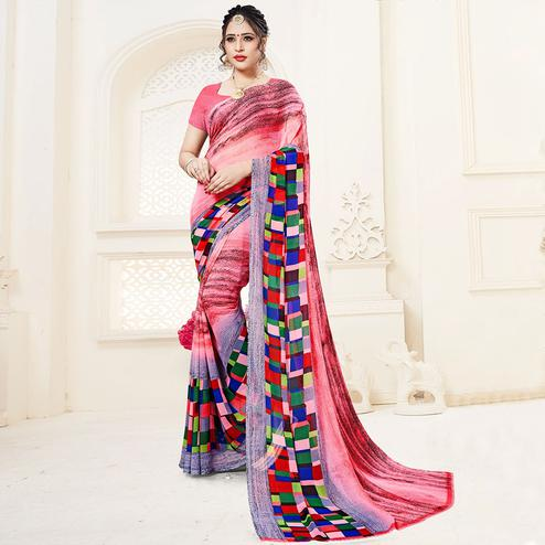 Pleasance Pink Colored Casual Printed Georgette Saree