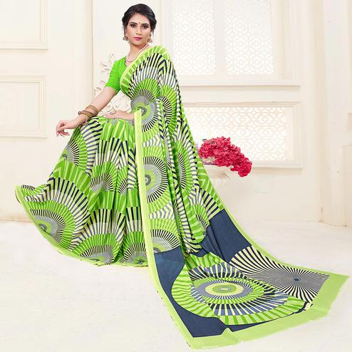 Impressive Light Green Colored Casual Printed Georgette Saree