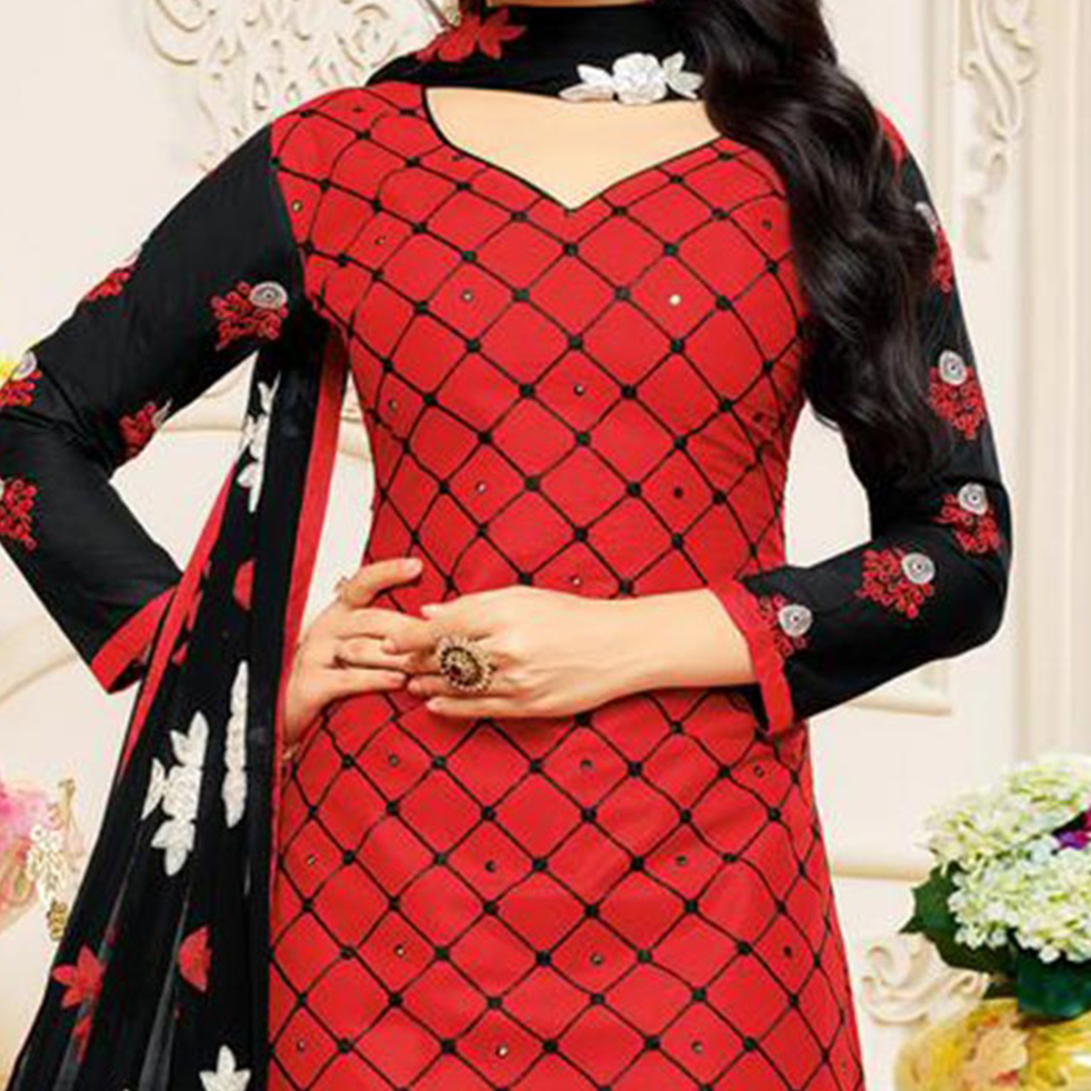 Red Embroidered Partywear Chanderi Salwar Suit