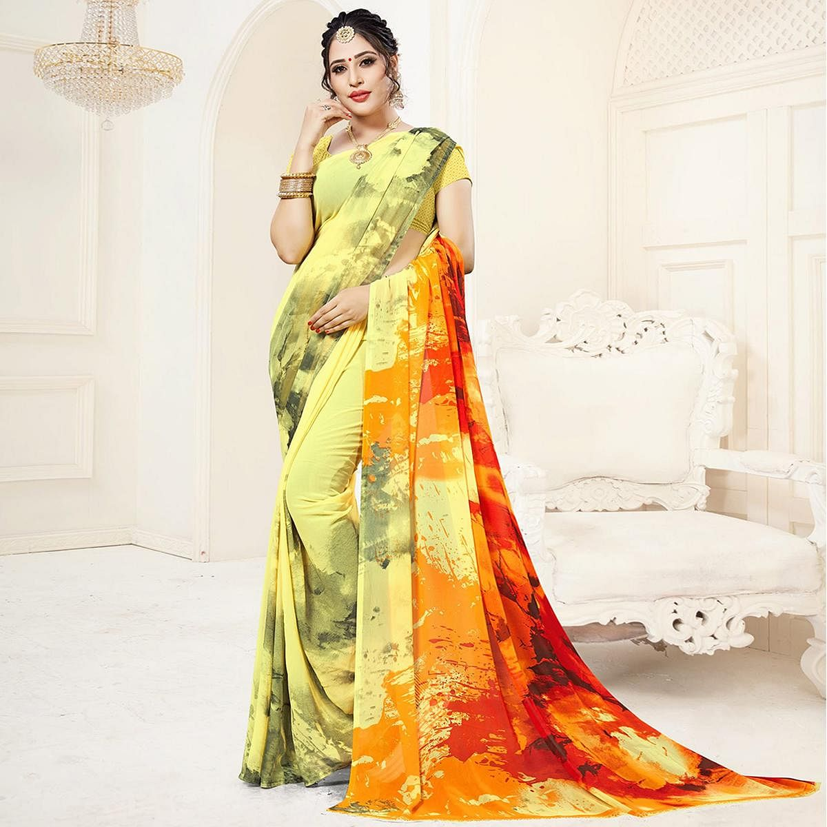 Ravishing Yellow Colored Casual Printed Georgette Saree
