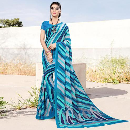 Capricious Blue Colored Casual Printed Georgette Saree