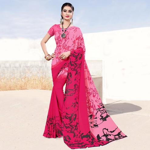 Captivating Pink Colored Casual Printed Georgette Saree
