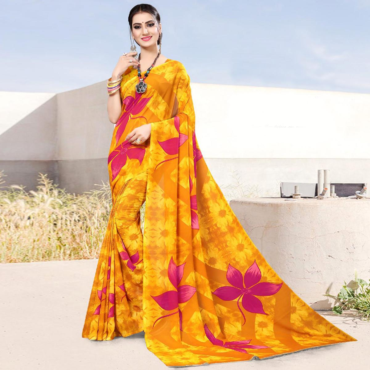 Prominent Yellow Colored Casual Printed Georgette Saree
