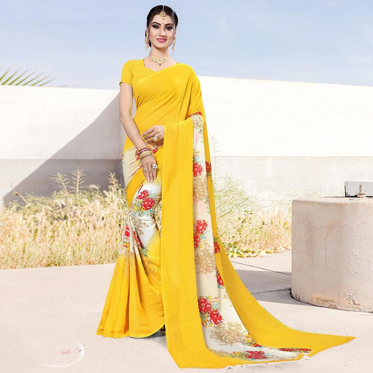 Radiant Yellow Colored Casual Printed Georgette Saree