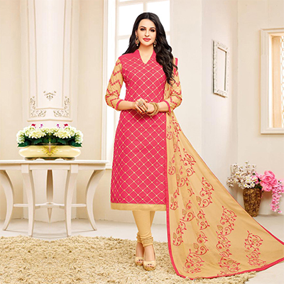 Pink Embroidered Partywear Chanderi Salwar Suit