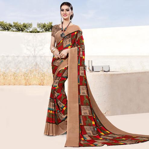 Pleasant Brown Colored Casual Printed Georgette Saree