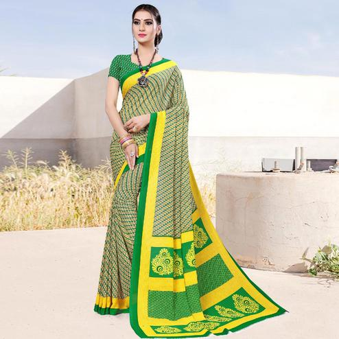 Adorable Green-Yellow Colored Casual Printed Georgette Saree