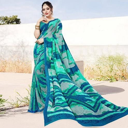 Attractive Green Colored Casual Printed Georgette Saree