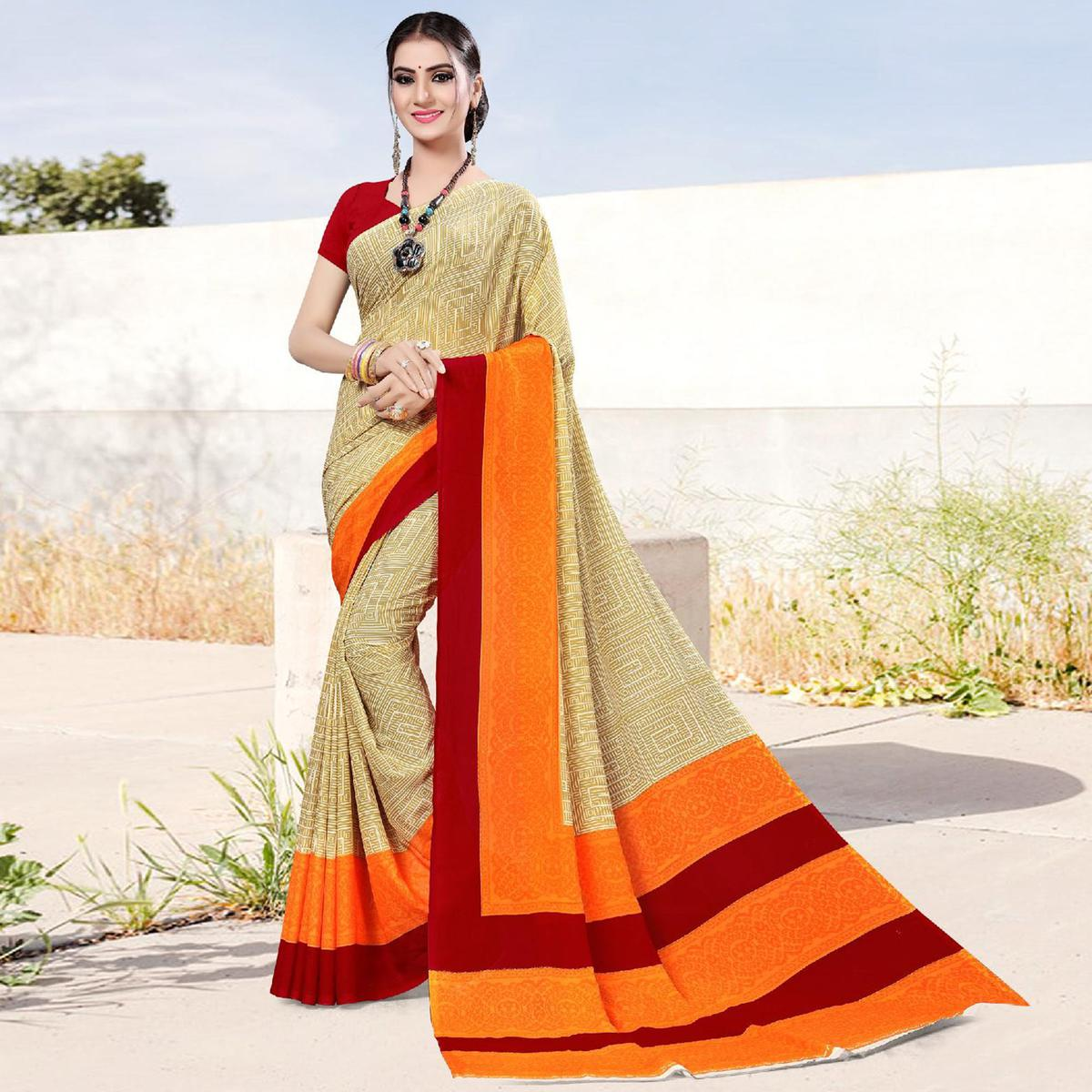Blissful Beige Colored Casual Printed Georgette Saree