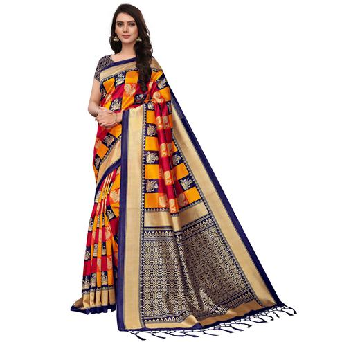 Classy Navy Blue-Yellow Colored Festive Wear Woven Mysore Silk Saree