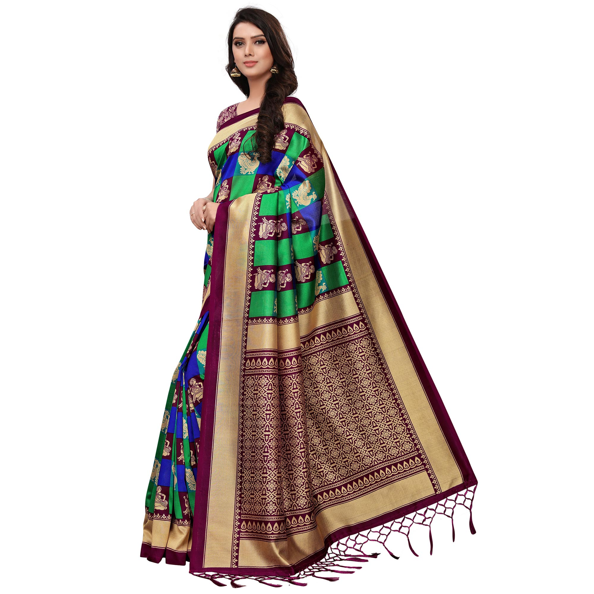 83862176d3 Buy Elegant Maroon-Green Colored Festive Wear Woven Mysore Silk Saree Online  India, Best Prices, Reviews - Peachmode