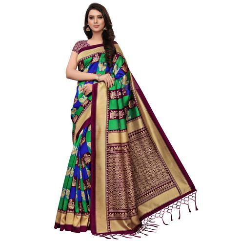 Elegant Maroon-Green Colored Festive Wear Woven Mysore Silk Saree
