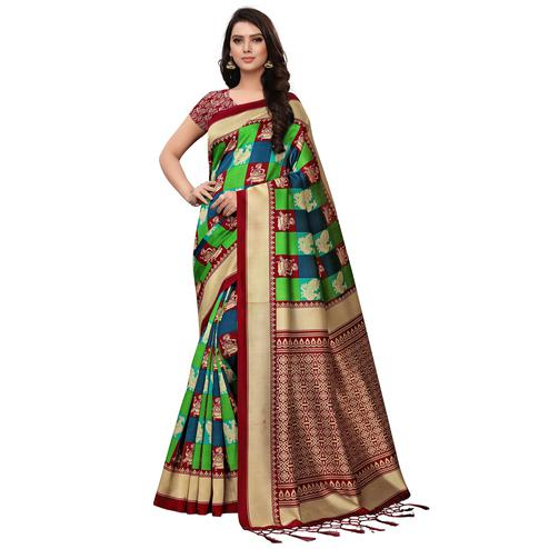 Blooming Red-Green Colored Festive Wear Woven Mysore Silk Saree