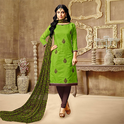 Graceful Green Chanderi Salwar Suit
