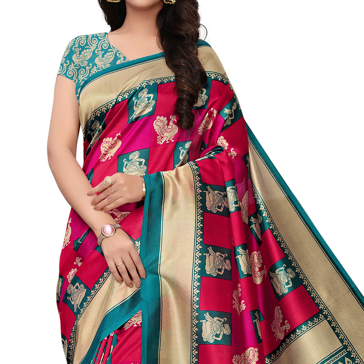 Lovely Turquoise Green-Pink Colored Festive Wear Woven Mysore Silk Saree
