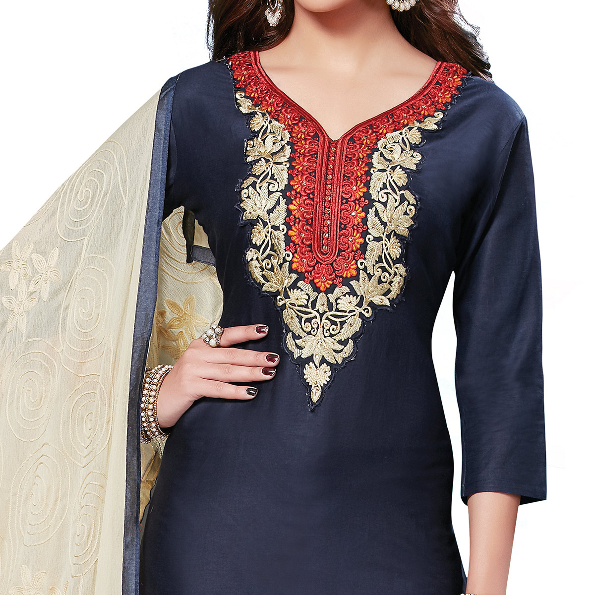 Glorious Navy Blue Colored Embroidered Casual Wear Cotton Dress Material