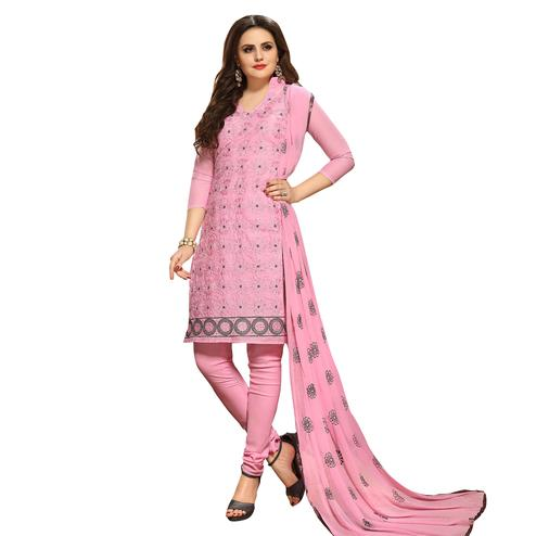 Gorgeous Pink Colored Embroidered Casual Wear Cotton Dress Material