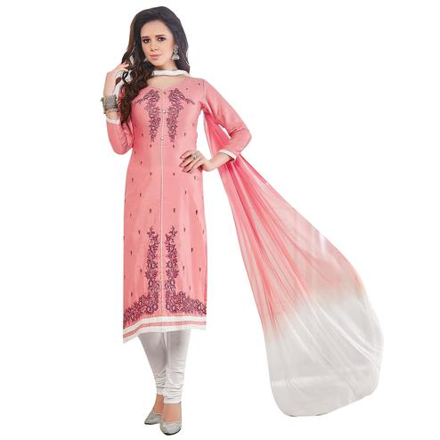 Graceful Pink Colored Embroidered Casual Wear Cotton Dress Material