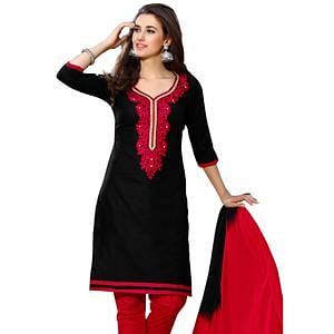 Lovely Black Colored Embroidered Casual Wear Cotton Dress Material
