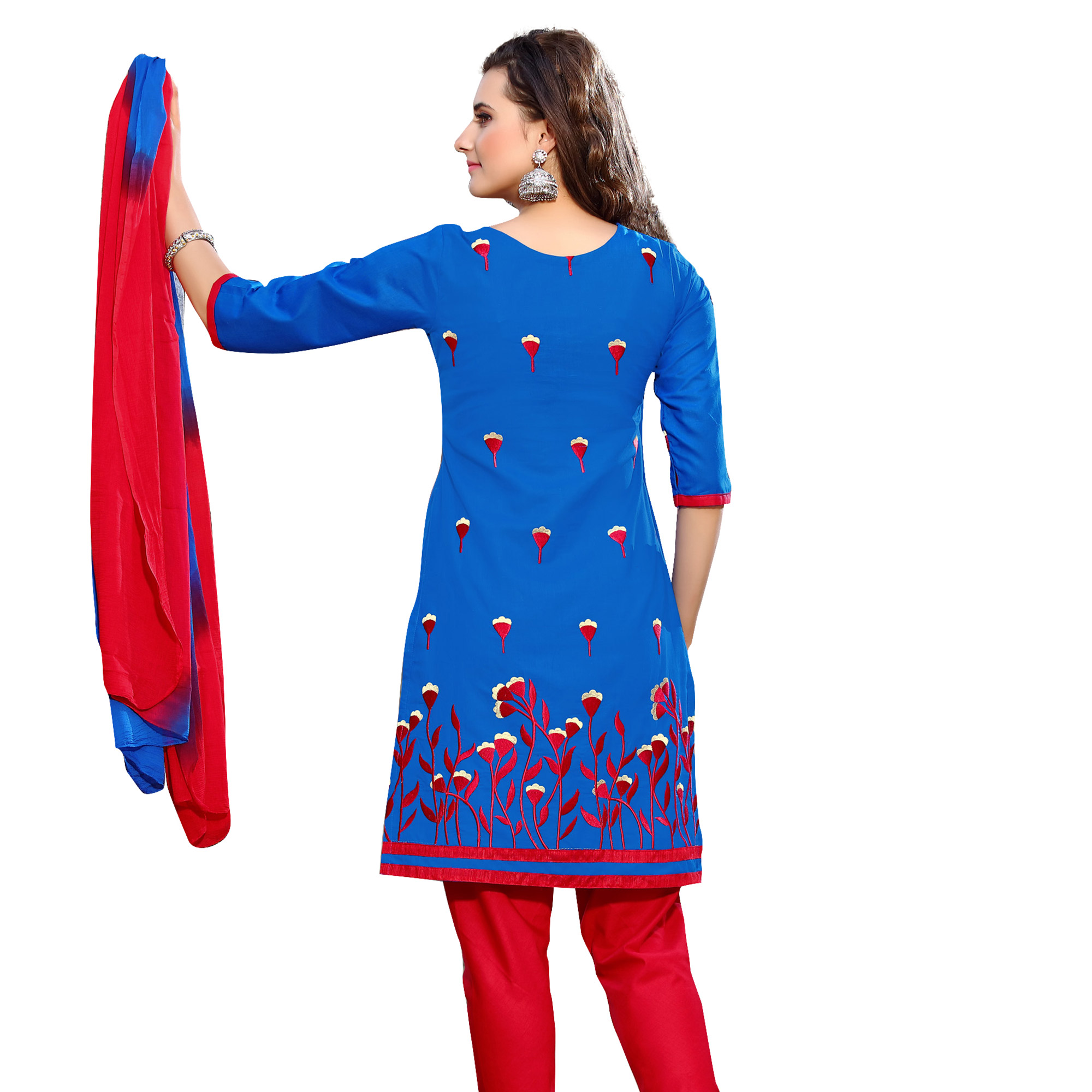 Majesty Blue Colored Embroidered Casual Wear Cotton Dress Material