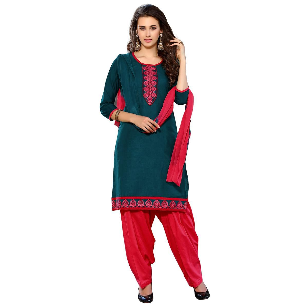 Marvellous Teal Blue Colored Embroidered Casual Wear Cotton Dress Material
