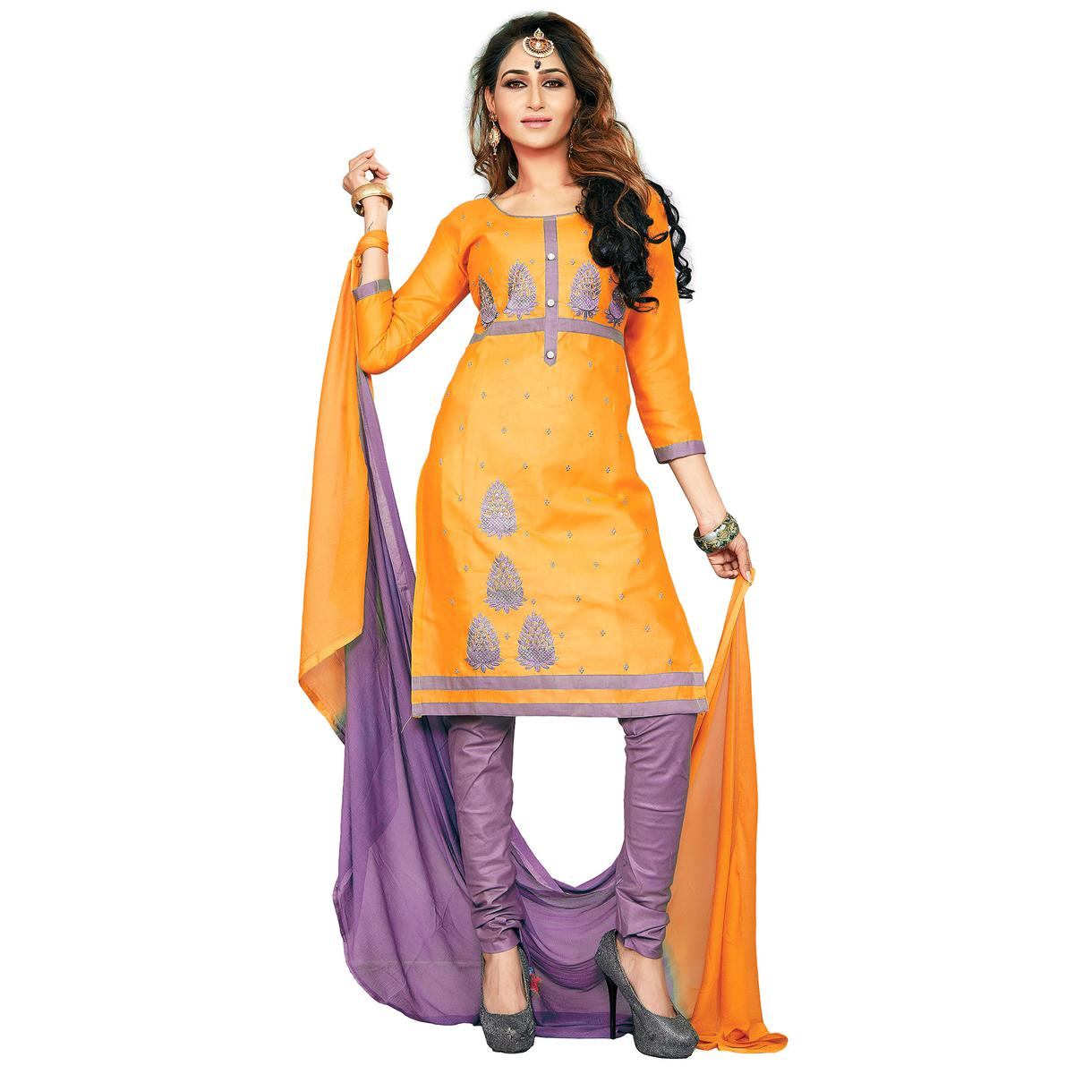 Mesmerising Yellow Colored Embroidered Casual Wear Cotton Dress Material