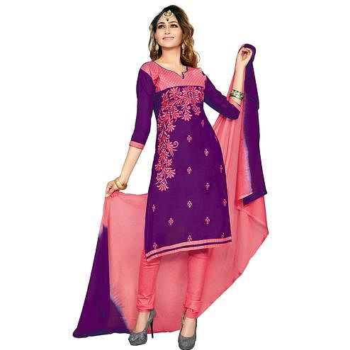 Pleasance Purple Colored Embroidered Casual Wear Cotton Dress Material