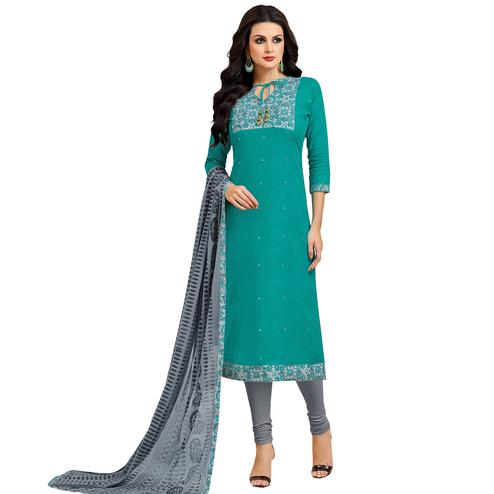 Preferable Teal Green Colored Embroidered Casual Wear Cotton Dress Material