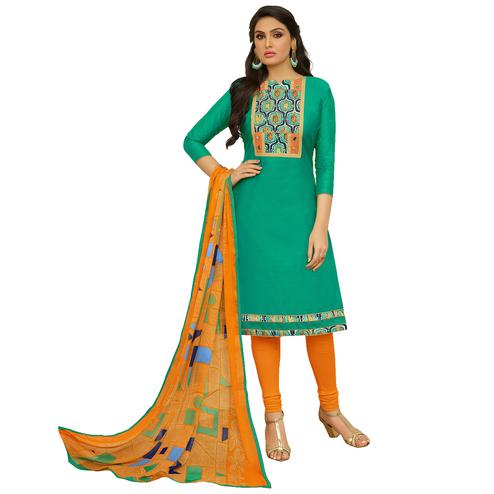 Pretty Turquoise Green Colored Embroidered Casual Wear Cotton Dress Material