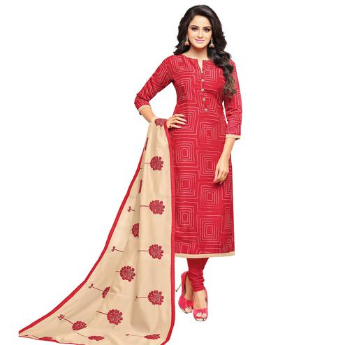 Ravishing Red Colored Embroidered Casual Wear Cotton Dress Material