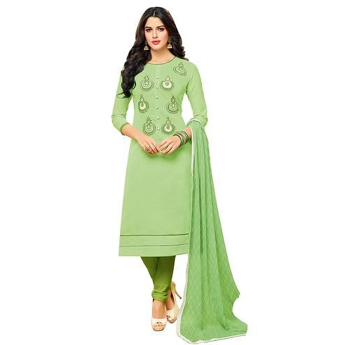 Staring Pale Green Colored Embroidered Casual Wear Cotton Dress Material